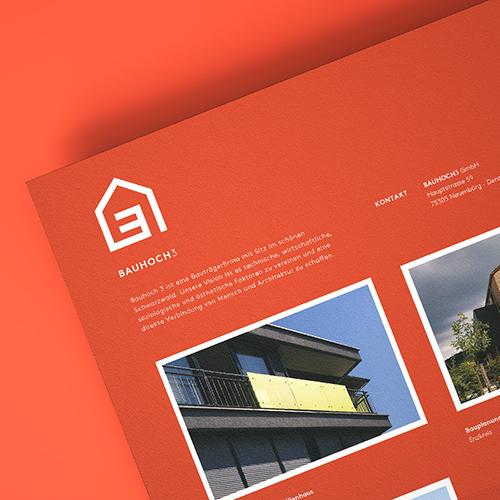 Imagebroschüre / Corporate Design für Bau Hoch Drei – Bauträger Pforzheim