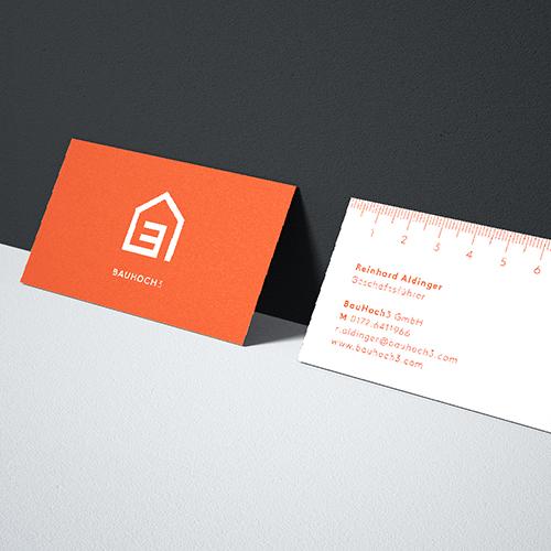 Visitenkarten / Corporate Design für Bau Hoch Drei – Bauträger Pforzheim