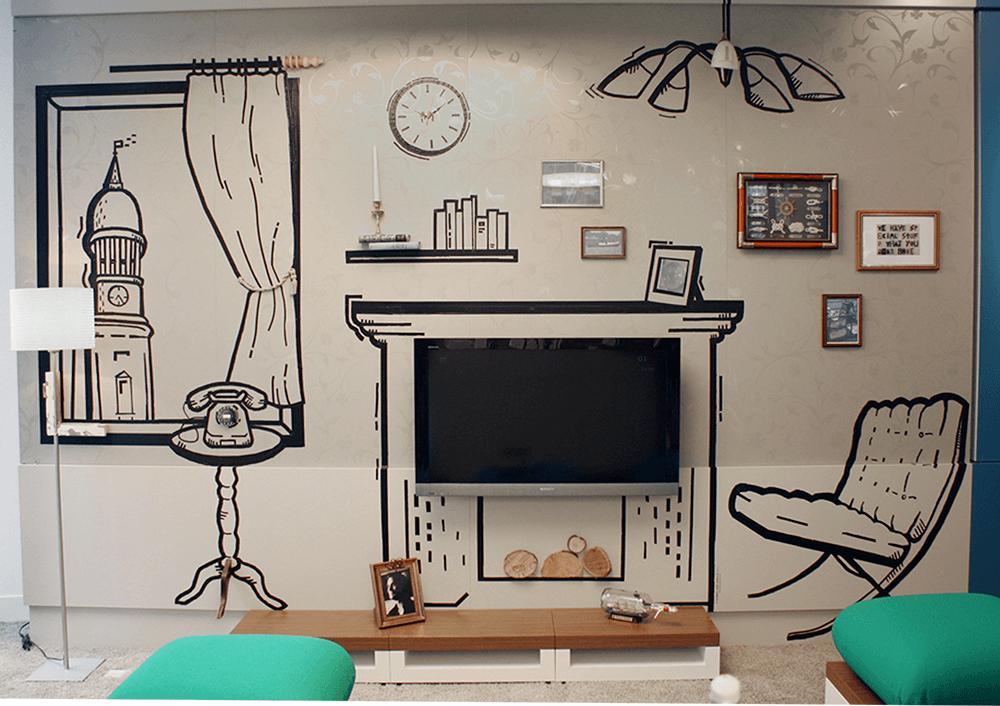 Wandgestaltung Mit Klebeband o2 - shop - gestaltung - tape art - raumgestaltung - wandgestaltung